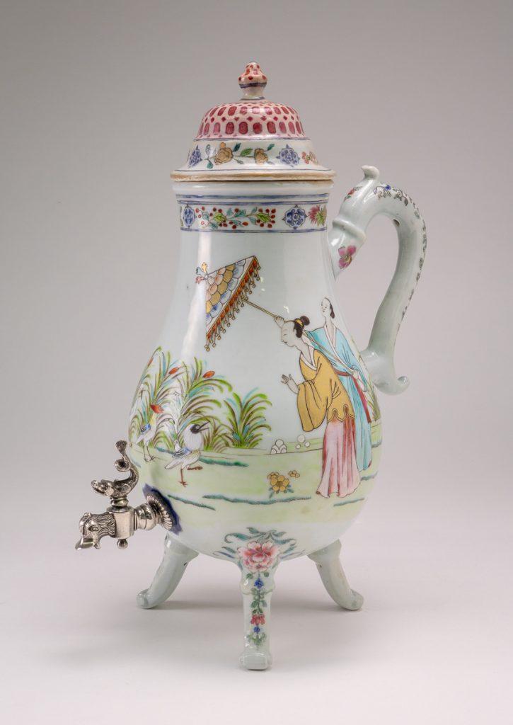 "Chinese famille rose tap jug with ""parasol ladies"""