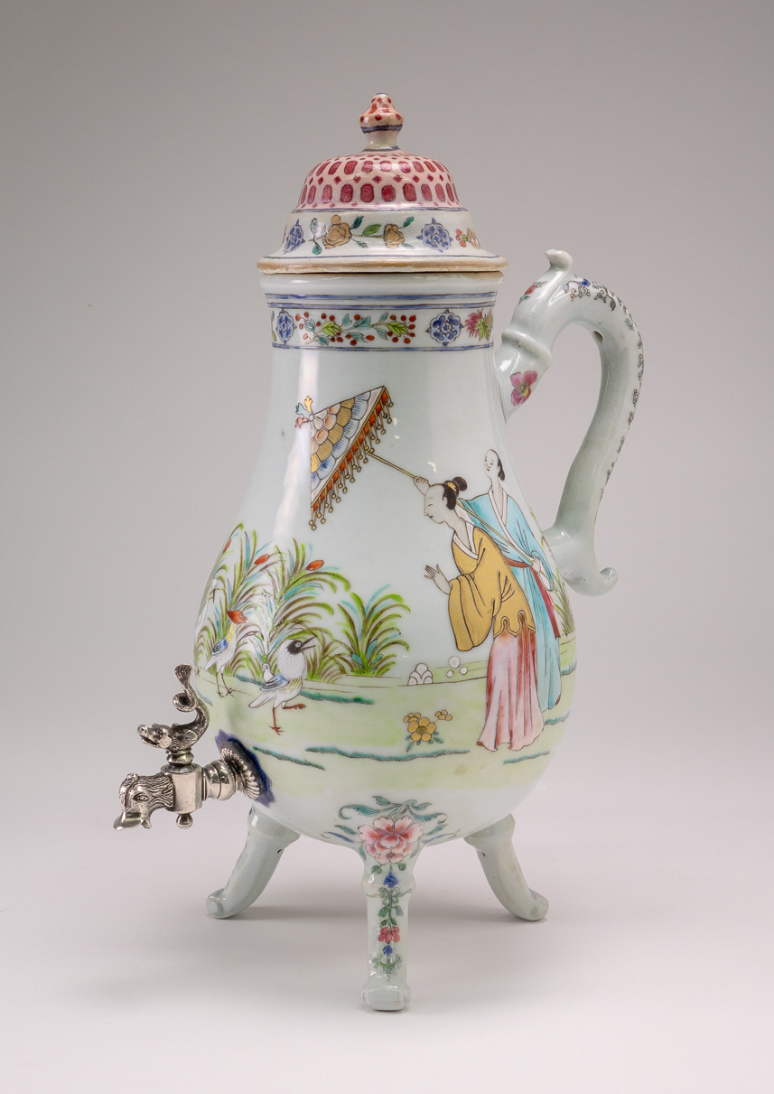 "Chinese famille rose tap jug with ""parasol ladies"""